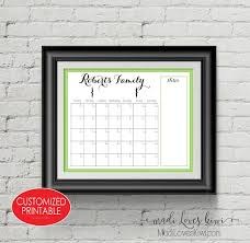 Family Command Center Customized Monthly Planner