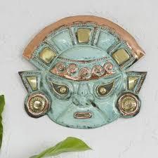 copper moche mask wall art warrior s