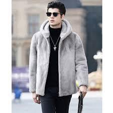 2018 new mens winter faux fur jacket gray artificial mink fur coat thick warm fashion man hooded fur coats plus size