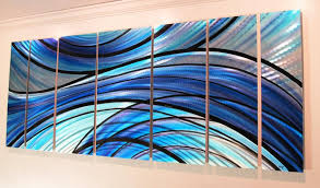 cascade 68 x24 large modern abstract metal wall art sculpture blue on teal blue metal wall art with cascade 68 x24 large modern abstract metal wall art sculpture blue