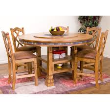 sedona wood round gathering table stools in rustic oak