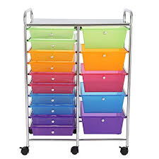 office rolling cart. Finnhomy 15-Drawer Rolling Cart,Storage Carts With Semi-transparent  Mutli Color Office Rolling Cart