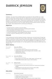 Security Officer Resume Inspiration Security Officer Resume Samples VisualCV Resume Samples Database