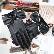 short gloves for women fashion white border bow pu leather black gloves female winter warm velvet touchscreen leather gloves womens gloves