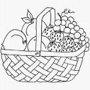 Раскраски корзина с фруктами и овощами