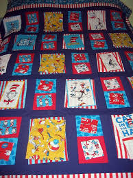 Dr Seuss cat in the hat quilt | Bunks' Blog & Quilt on double bed. I couldn't back up far enough to get it all in. Adamdwight.com