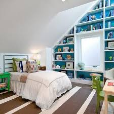 High Quality Luxury Picture Of M_kids Bedroom Sloped Ceiling Built In Bookcase With  Window Seat Small Bedroom Decorating Ideas For Kids Style Decor