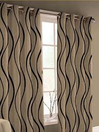 black and cream curtain with woven pattern