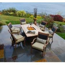 fire pit dining table. Latham Fire Dining Group By Aria Patio Furniture | Family Leisure Pit Table I