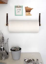 Kitchen towel holder Rose Gold Make This Simple Magnetic Paper Towel Holder To Save On Kitchen Counter Space Curbly Diy Magnetic Paper Towel Holder Curbly