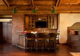 Decorations:Astonishing Basement Wine Bar Decor With Metal Stools Also  Rustic Iron Pendant Lights And