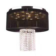 worldwide lighting alice 9 light chrome and clear crystal led flushmount with black string shade