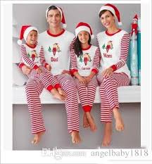 Mother And Daughter Christmas Pajamas Family Matching Clothes Striped Xmas Sets 2018 New Year