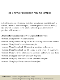 Network Specialist Resume Top 8 Network Specialist Resume Samples