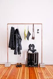 diy copper and concrete clothes rack