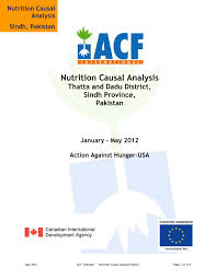 Causal Analysis Nutrition Causal Analysis Thatta And Dadu District Sindh