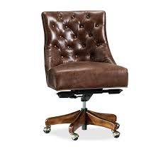 Brown leather office chair Big Hayes Tufted Leather Swivel Desk Chair Hayes Tufted Leather Swivel Desk Chair Pottery Barn Office Chairs Desk Chairs For Your Home Office Pottery Barn