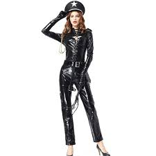 black faux leather jumpsuit y long sleeve policewoman cosplay costume fancy costumes cop outfit overalls