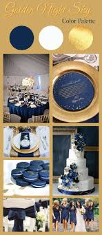 Golden Night Sky Color Palette for Weddings | Features Navy Blue, White &  Gold |