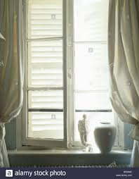open window with curtains. Simple Curtains Closeup Of Open Window With White Curtains And External Shutters   Stock Image And Open Window With Curtains E