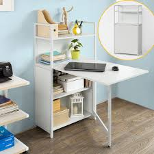 so folding laptop desk table with 4 tiers bookcase storage shelves fwt12 w