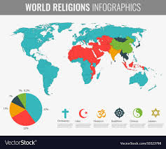 World Religions Infographic With World Map Charts