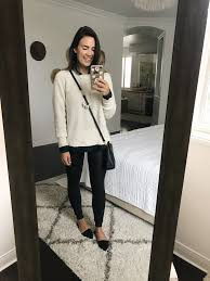 a cozy everyday outfit for fall or winter spanx leggings white sweater similar flannel on down necklace similar black flats stud earrings