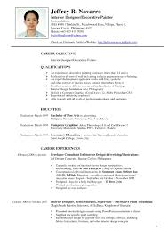 Resume Format For Graphic Designer Fresher Interior Design Samples