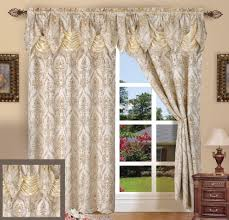 trendy home curtains decorations featuring beige color damask pattern curtains and cream color silky dry