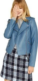 blue faux leather lucy biker jacket follow oasis follow debenhams