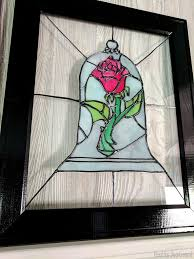 faux stained glass beauty and the beast rose