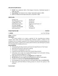 Sample Resume For Software Testing Freshers