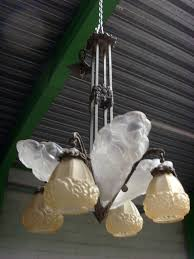 art deco frosted glass chandelier by david gueron for verrerie d
