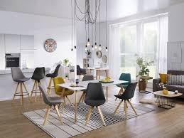 Wohnling 2er Set Esszimmerstühle Lima Retro Küchenstühle Stoff Grau Esszimmerstuhl