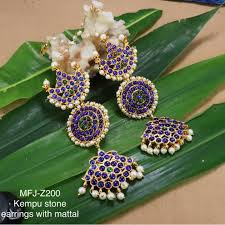 Blue Green Online Blue Green Kempu Stones With Pearls Sun Moon Design Earings With Mattel For Bharatanatyam Dance And Temple Buy Online