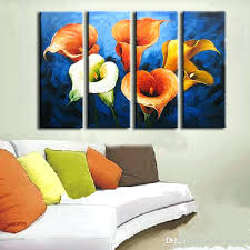 modern home decor wall art acrylic fl paintings 4 panel pictures hand painted colorful lily flower