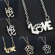 image is loading women silver dog cat paw print heart charm