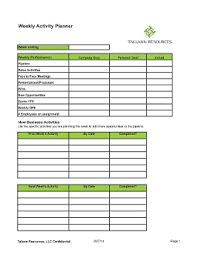 Staffing Sales Weekly Activity Planner