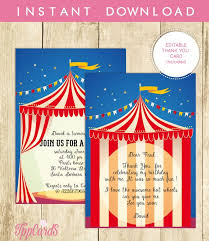 Circus Party Invitation Mesmerizing Circus Carnival Invitation Red White INSTANT DOWNLOAD Editable