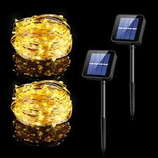 habor solar powered copper wired outdoor 100 led string lights 33 feet each
