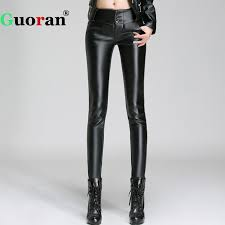 2018 winter pu leather pencil pants warm fleece leather leggings plus size