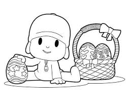 Small Picture Pocoyo and a Basket of Easter Eggs Coloring Page Color Luna