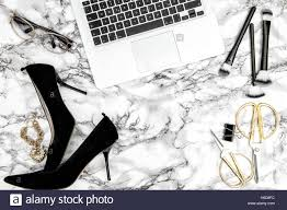 feminine office supplies. Feminine Accessories, Notebook, Shoes, Office Supplies On Bright Marble Table Background. Fashion Flat Lay For Blogger Social Me K