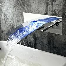 wall mounted bathroom faucets chrome finish color changing led waterfall wall mount bathroom faucet wall mount