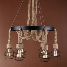6 heads wire cage hemp rope loft lamp chandelier ceiling pendant light vintage