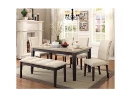 dining room table with upholstered bench. Elements International GreystoneTable And Chair Set With Bench Dining Room Table Upholstered O