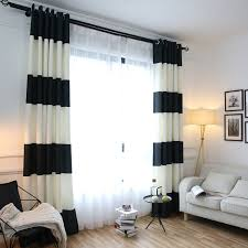 Delighful Black And White Curtains Splicing Striped Blackout On Design Decorating