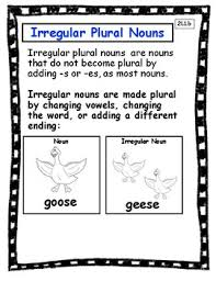 Irregular Plural Nouns Anchor Chart And Interactive Notebook Page