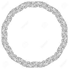 oval frame tattoo design. Lotus Flowers Arranged In Intricate Circular Frame. Popular Decorative Motif South-Eastern Asia Oval Frame Tattoo Design N
