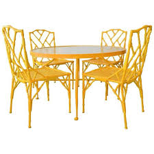 faux bamboo patio set with table and